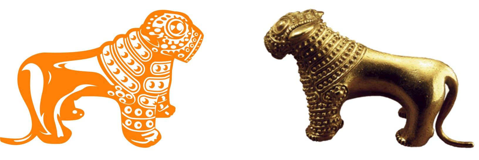 Рис. 6. Лев, размещенный на логотипе ОАО «БНБ-Банк», (слева) и фигурка льва, найденная в Кахетии, (справа)